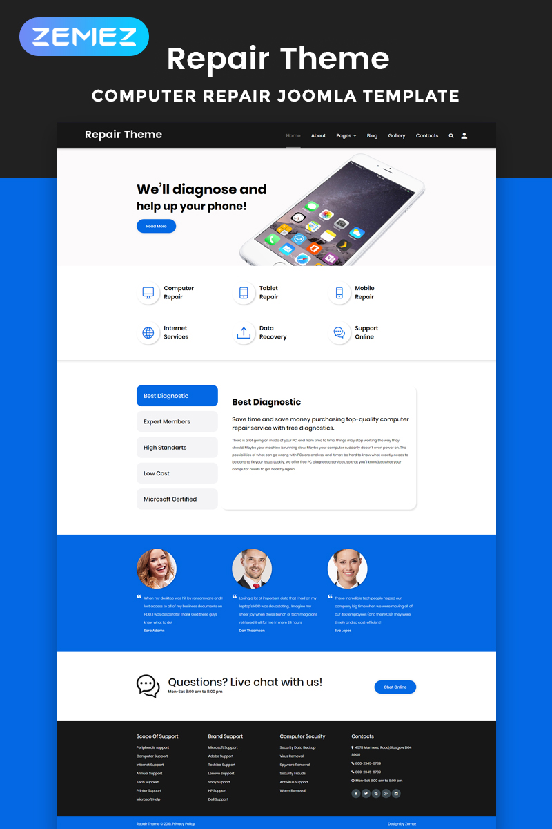 Repair Theme - Computer Repair Multipage Clean Joomla Template