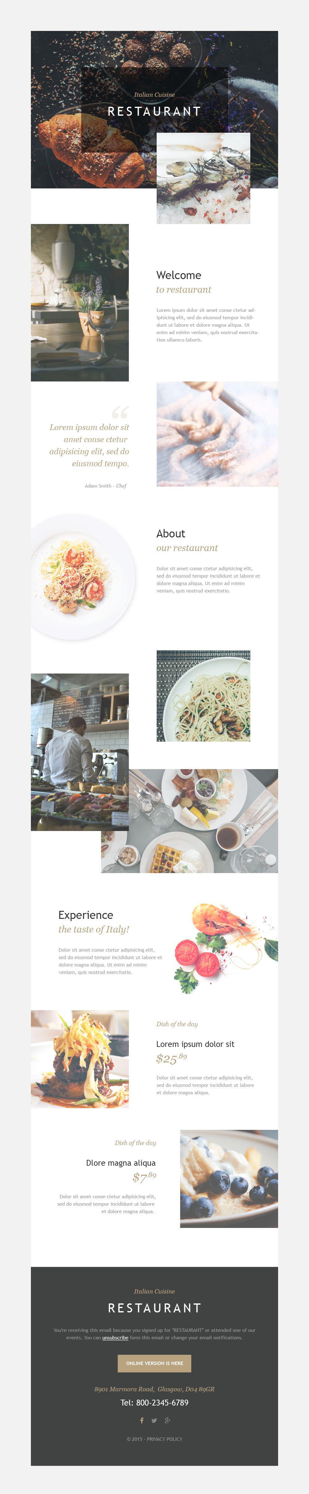 Italian Restaurant Responsive Newsletter Template
