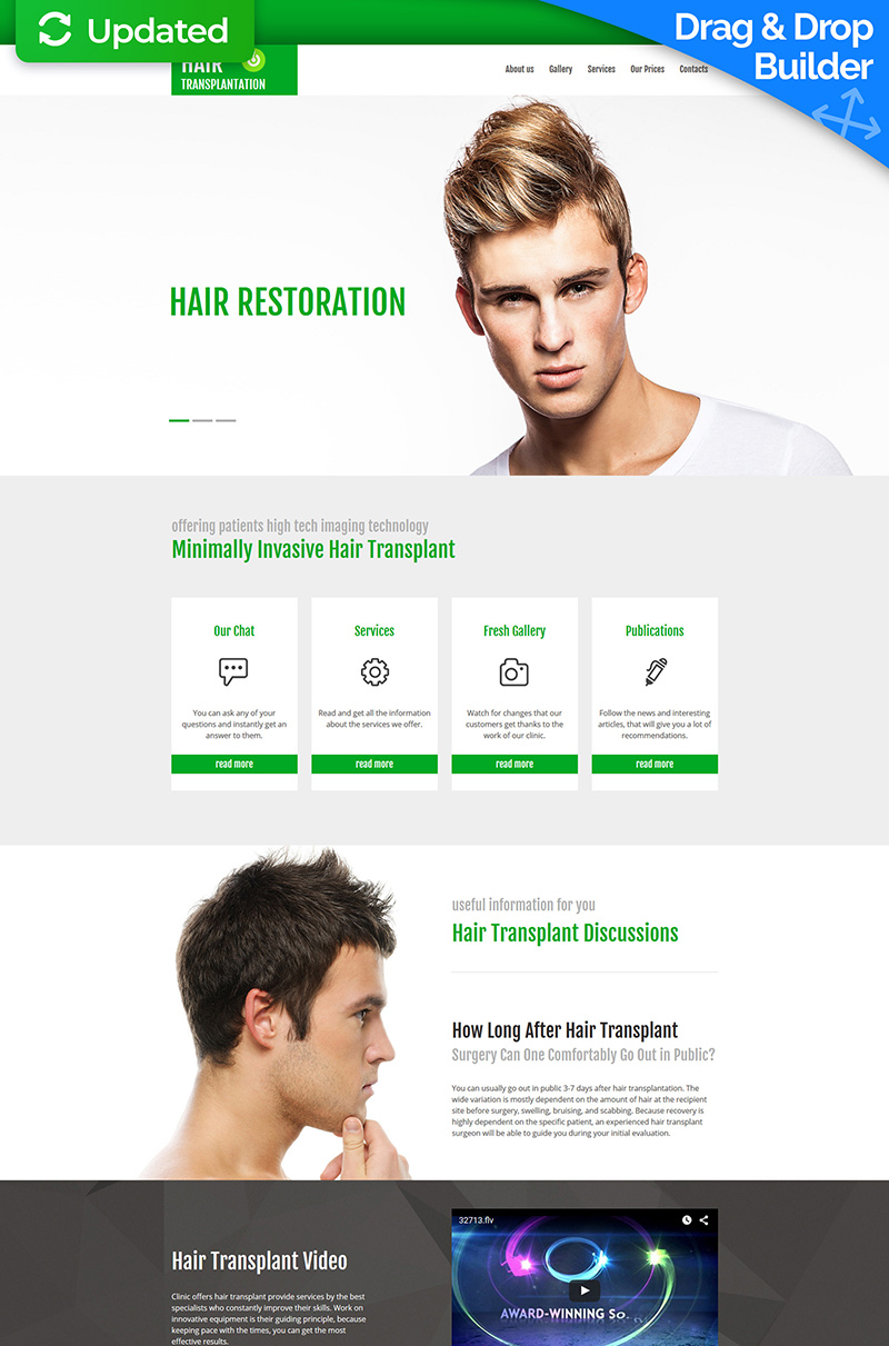Hair Clinic Moto CMS 3 Template