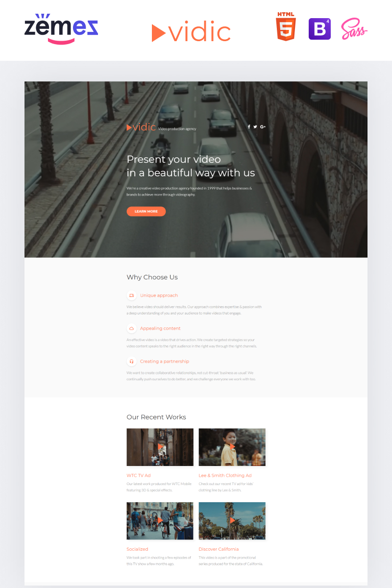 Vidic - Video Lab Creative HTML Landing Page Template
