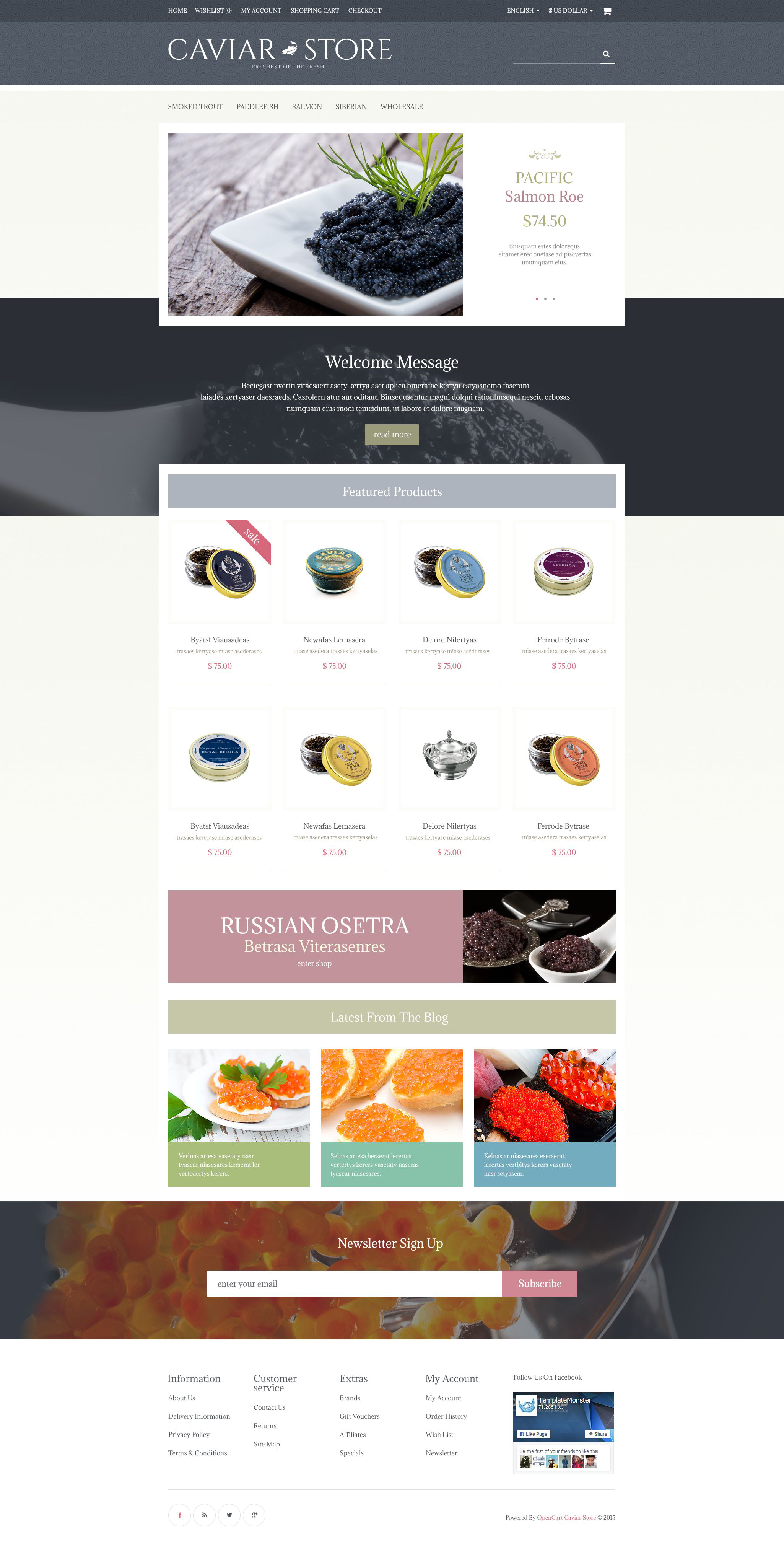 Caviar Store OpenCart Template