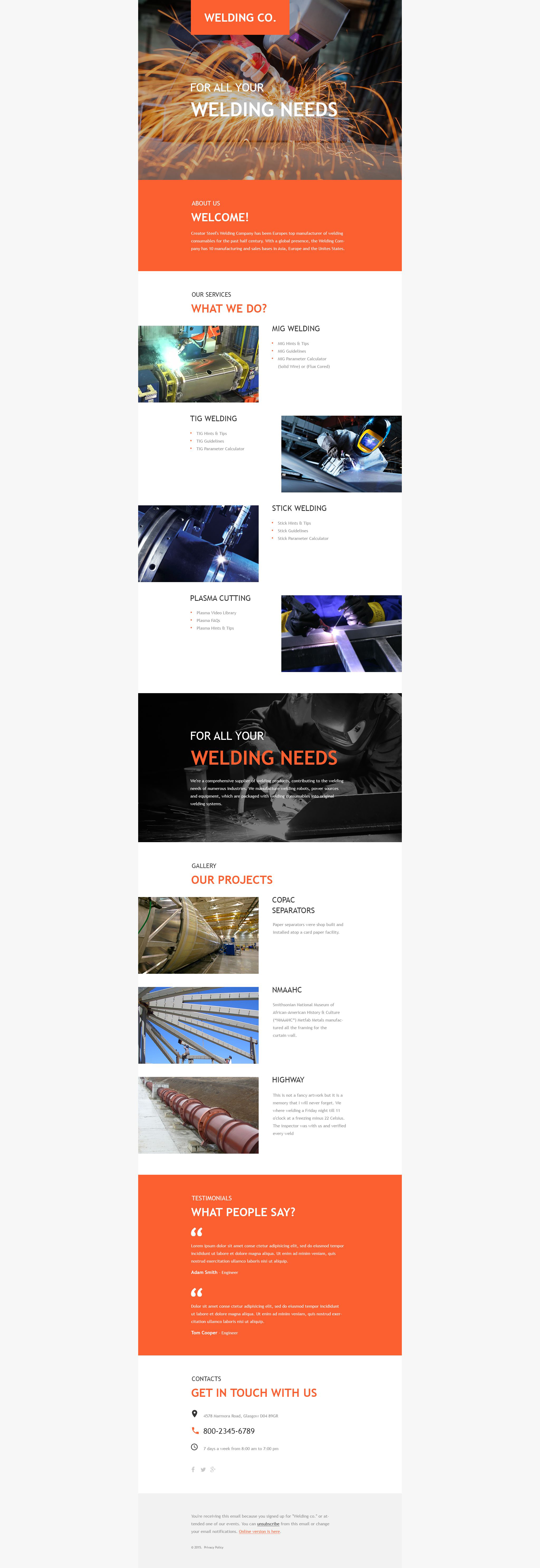 Welding Responsive Newsletter Template