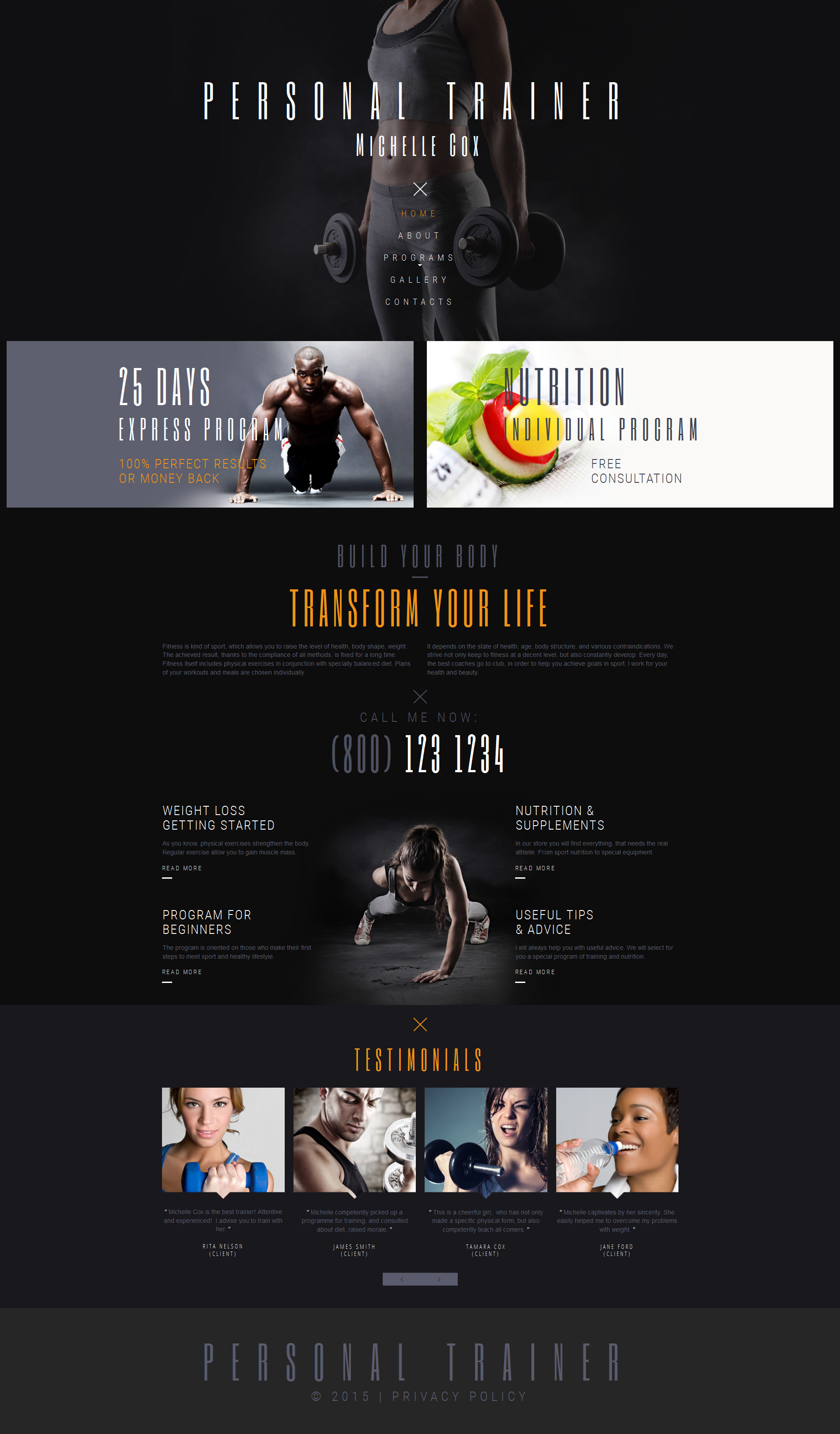 Personal Trainer Moto CMS 3 Template