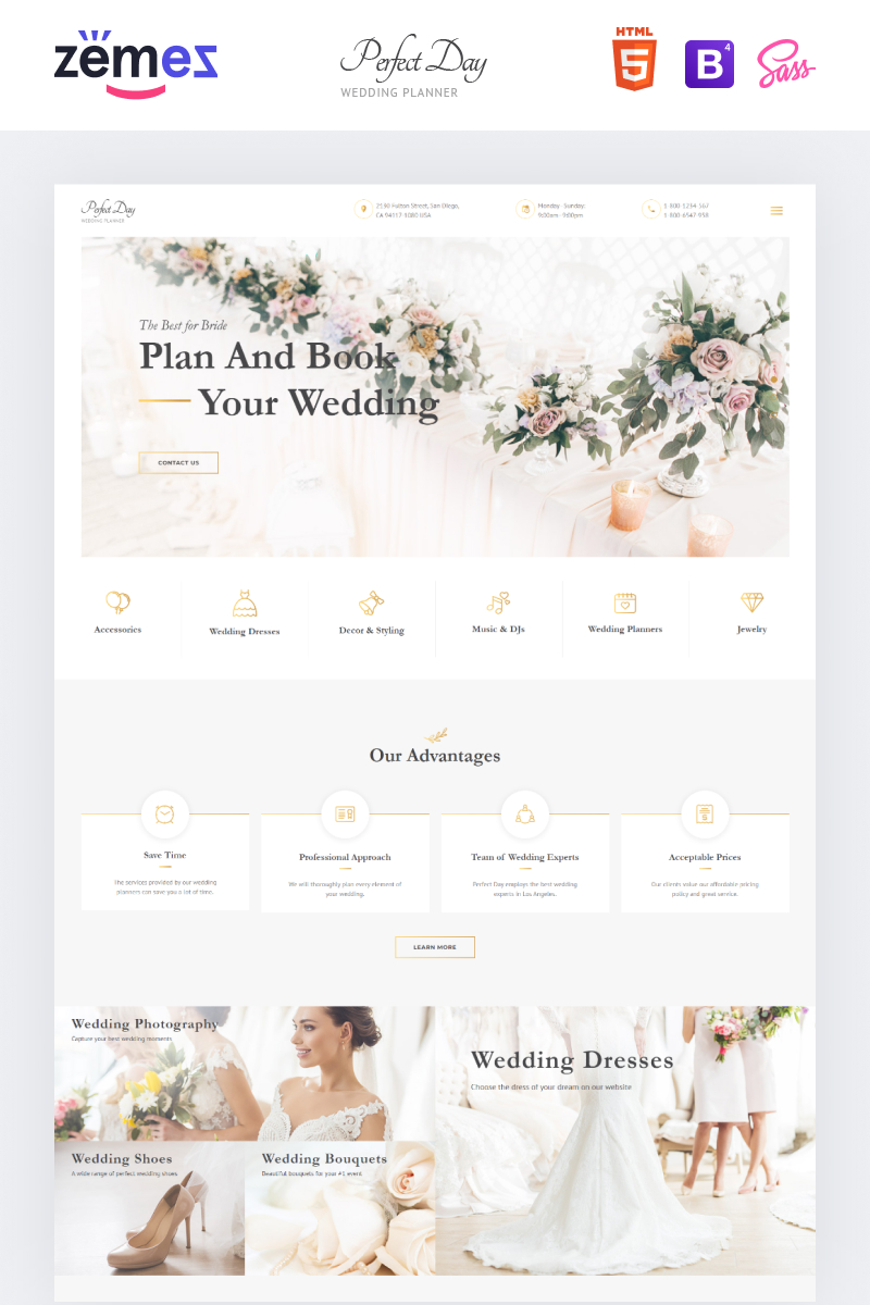 Perfect Day - Wedding Planning Multipage HTML Website Template