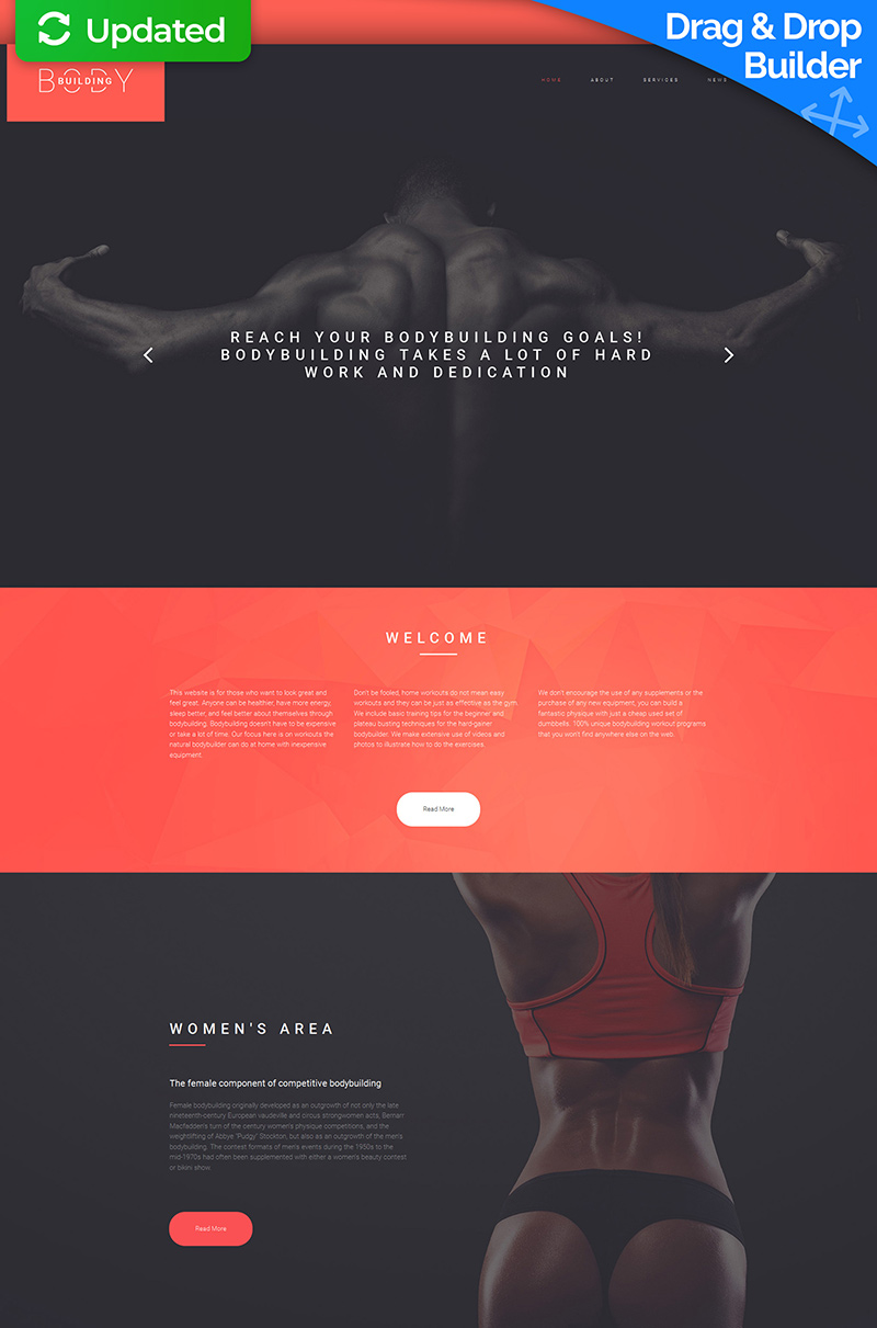 Bodybuilding & Fitness Club Moto CMS 3 Template