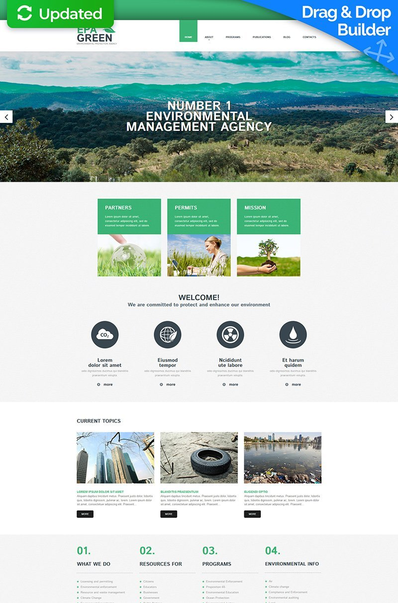 Environmental Responsive Moto CMS 3 Template