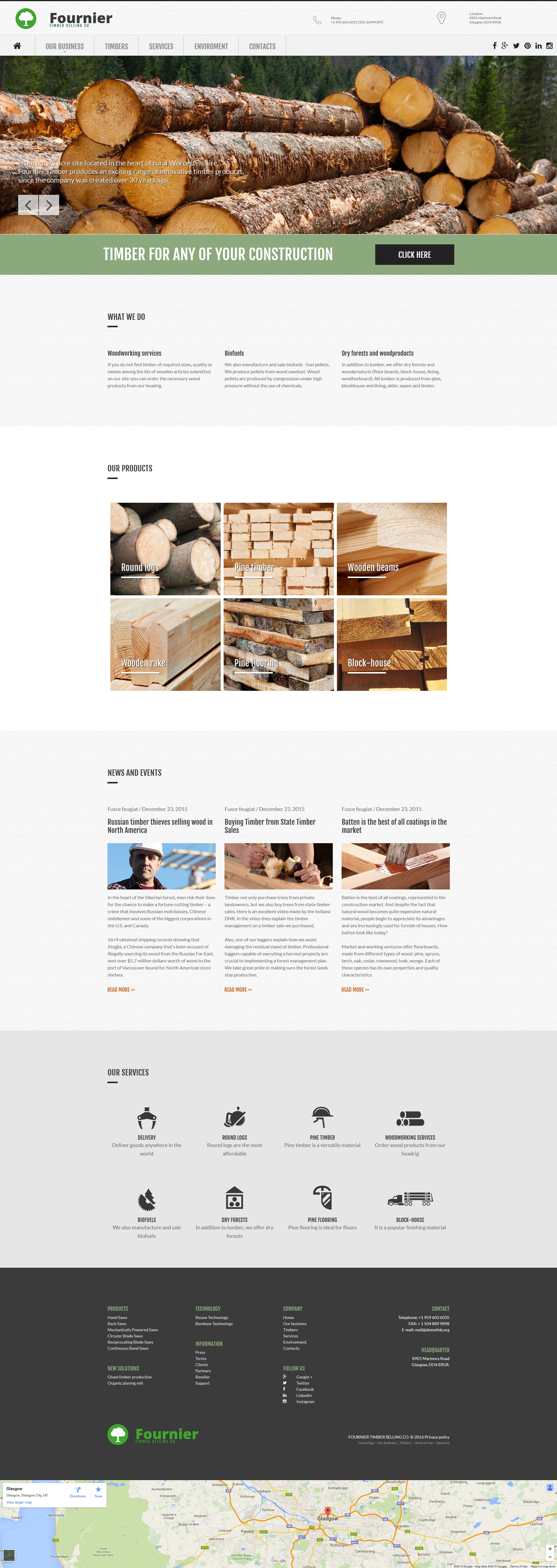 Wood Products Moto CMS 3 Template