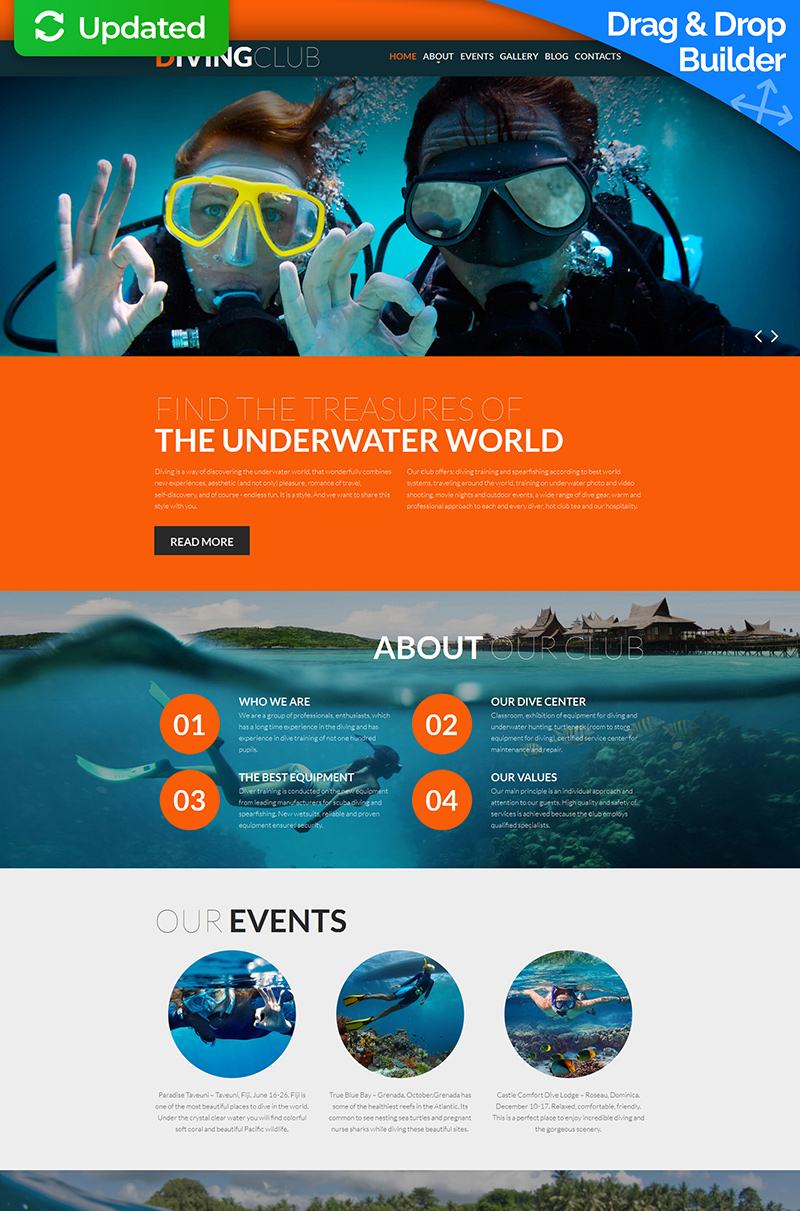 Diving Club Moto CMS 3 Template