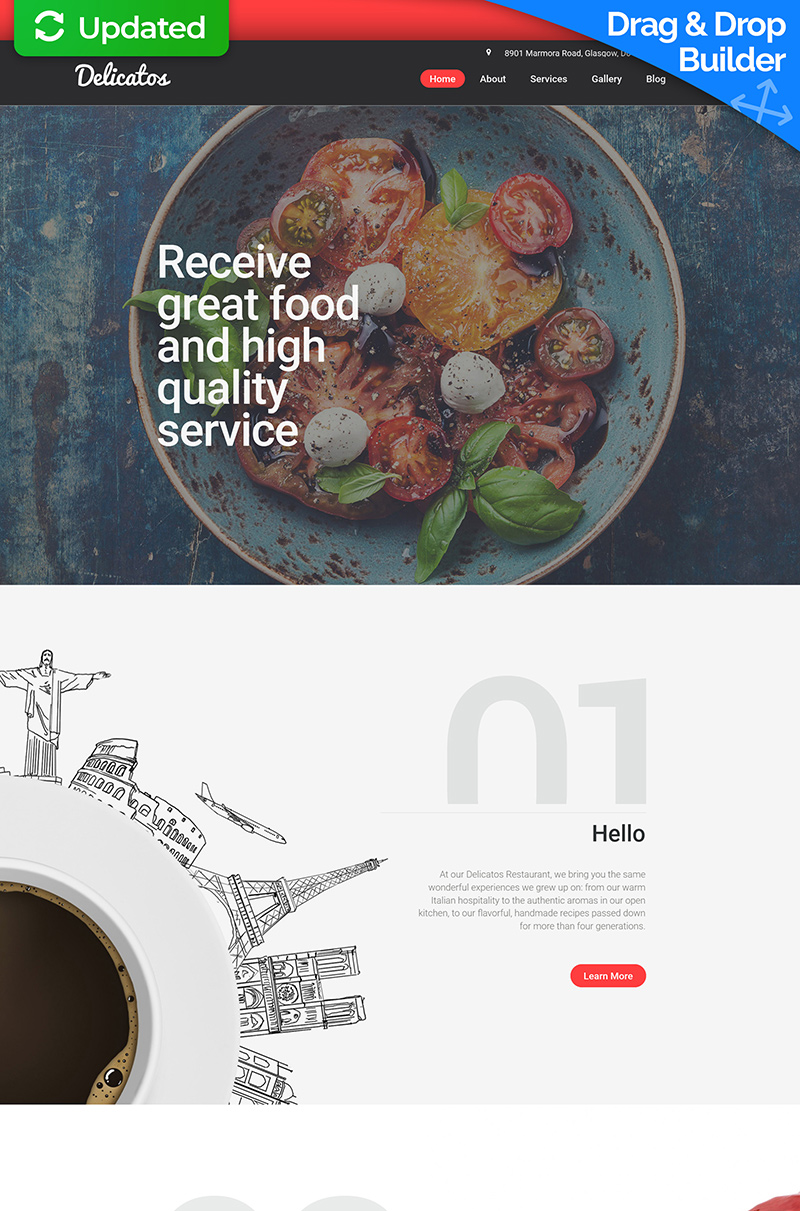 Delicatos - Simple Restaurant Moto CMS 3 Template