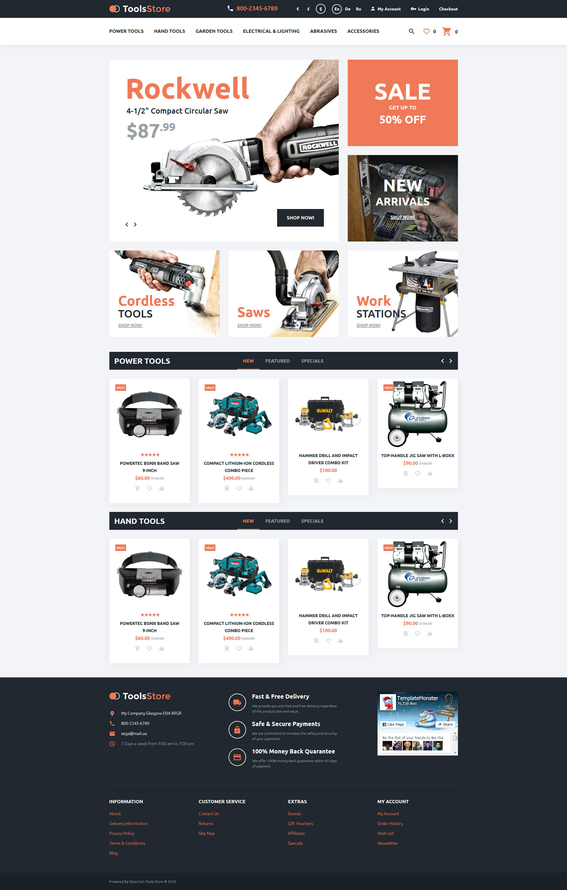 Tools Store OpenCart Template