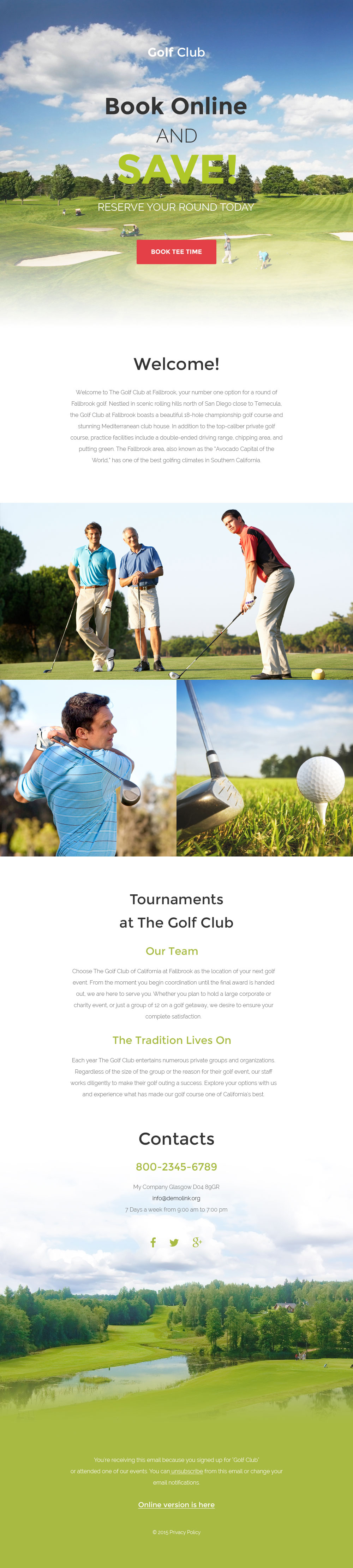 Golf Responsive Newsletter Template