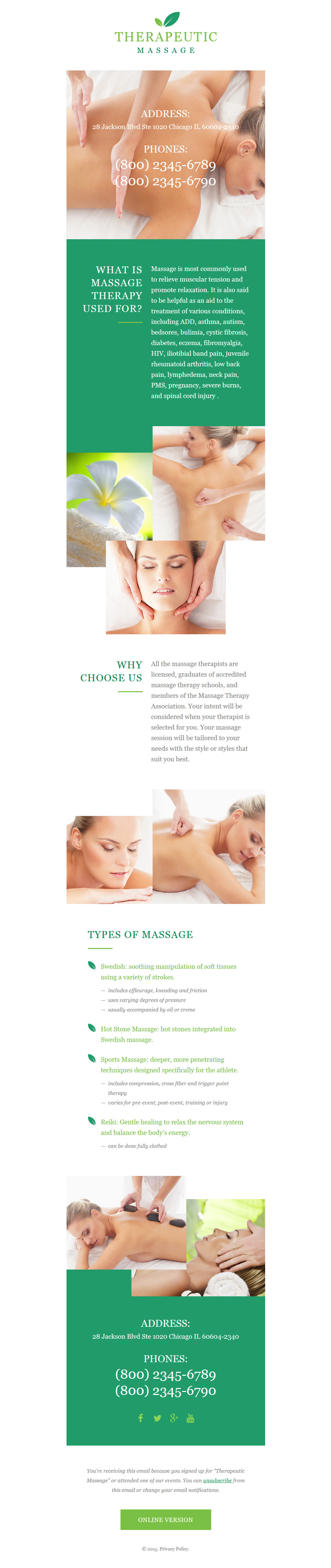 Massage Salon Responsive Newsletter Template