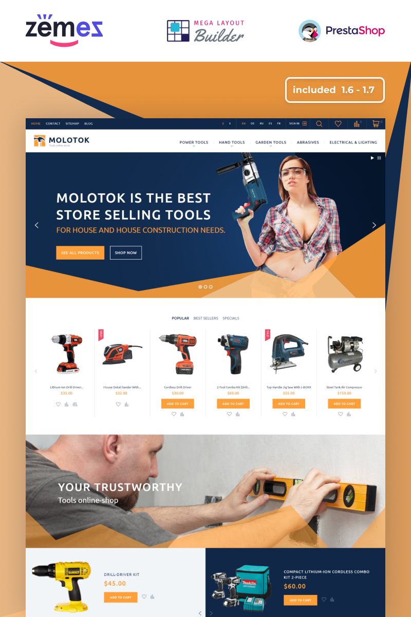 Molotok - Hardware Tools eCommerce Template PrestaShop Theme