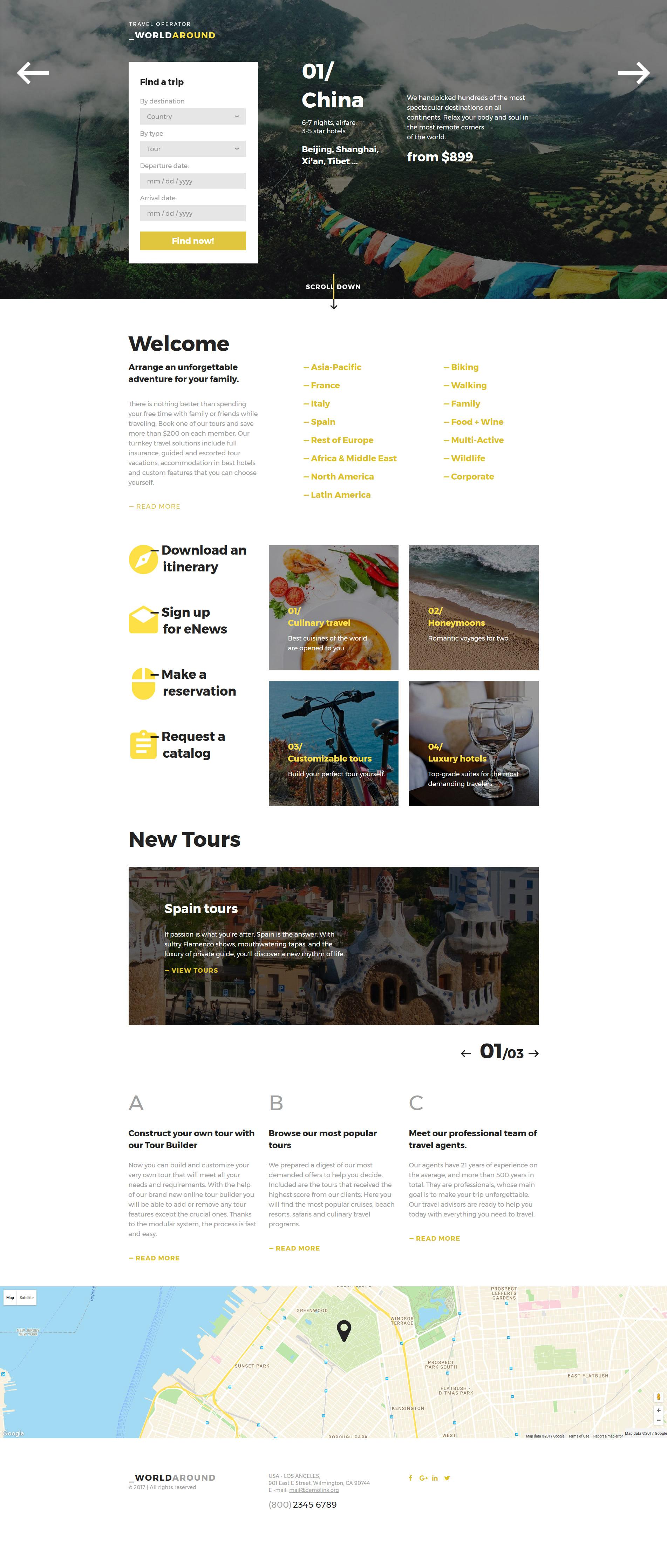 WorldAround - Travel Operator Landing Page Template