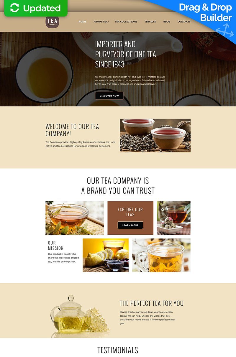 Tea Shop Moto CMS 3 Template
