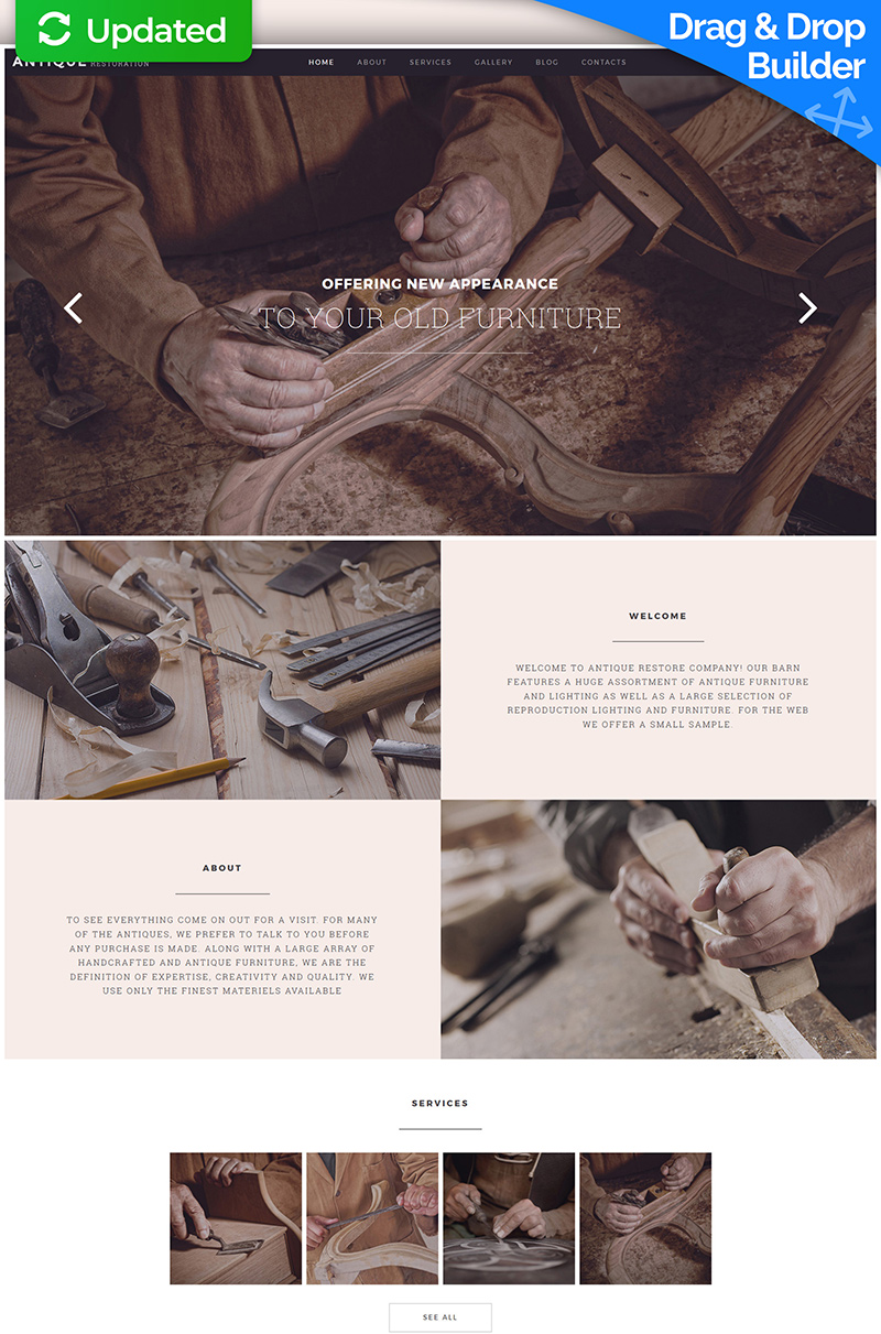 Antique Restoration Services Moto CMS 3 Template