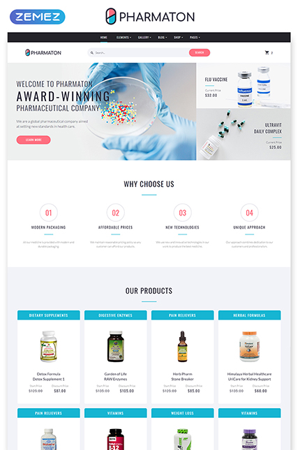 Pharmaton - Drug Store Multipage Modern HTML Template, Website Template