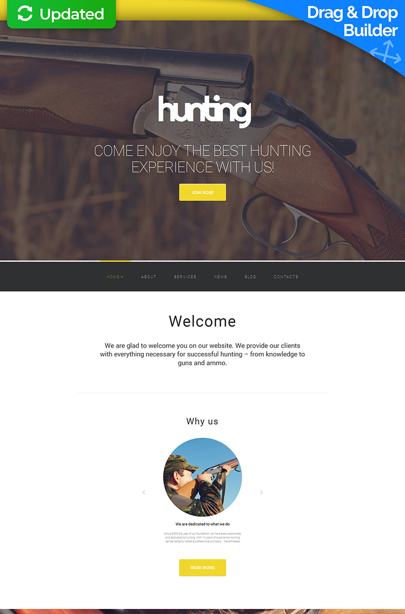 Hunting Moto CMS 3 Template