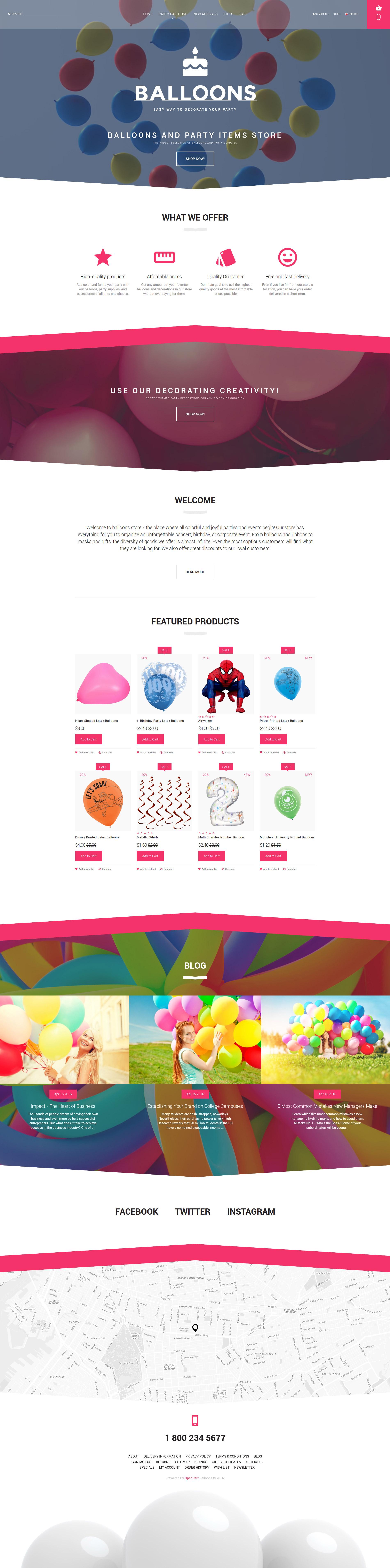 Balloons OpenCart Template