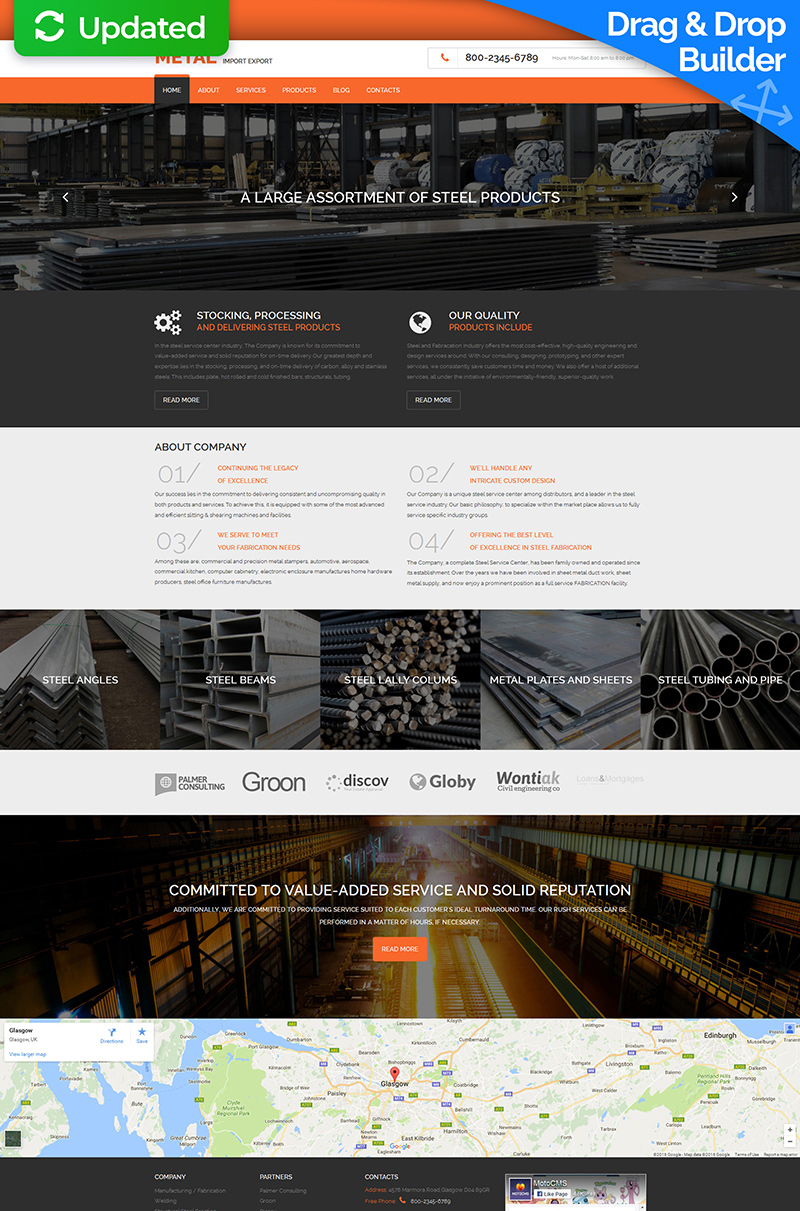 Steel Manufacturing Moto CMS 3 Template