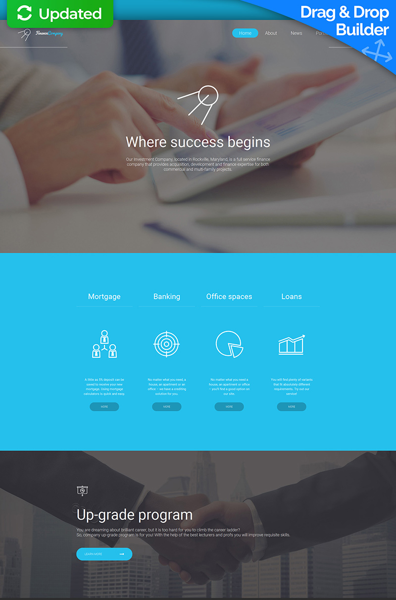 Finance Company Moto CMS 3 Template