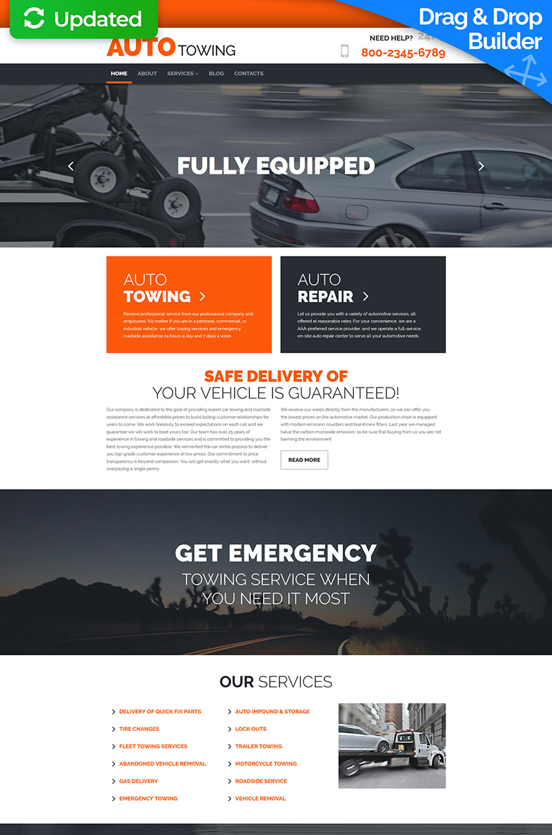 Auto Towing Responsive Moto CMS 3 Template