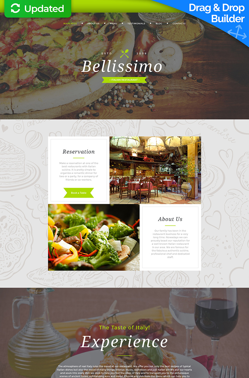 Bellissimo - Beautiful Restaurant Moto CMS 3 Template