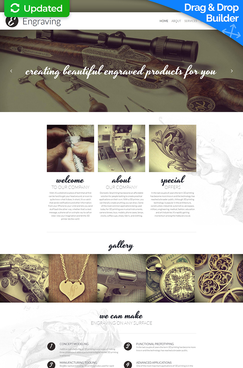 Engraving Responsive Moto CMS 3 Template