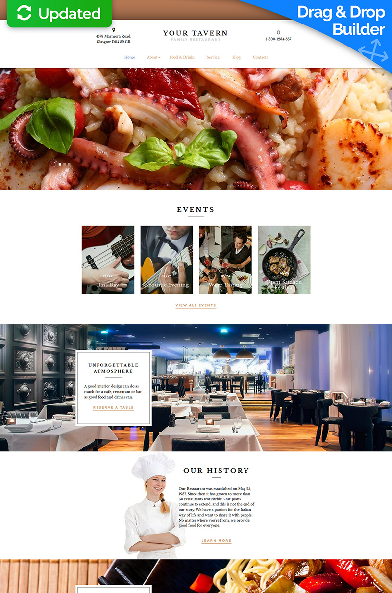 Your Tavern - Family Restaurant Moto CMS 3 Template