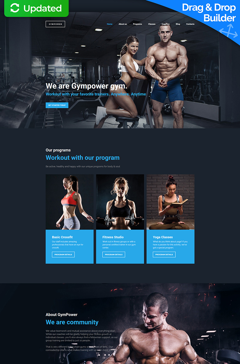 GymPower - Fitness & Bodybuilding Premium Moto CMS 3 Template
