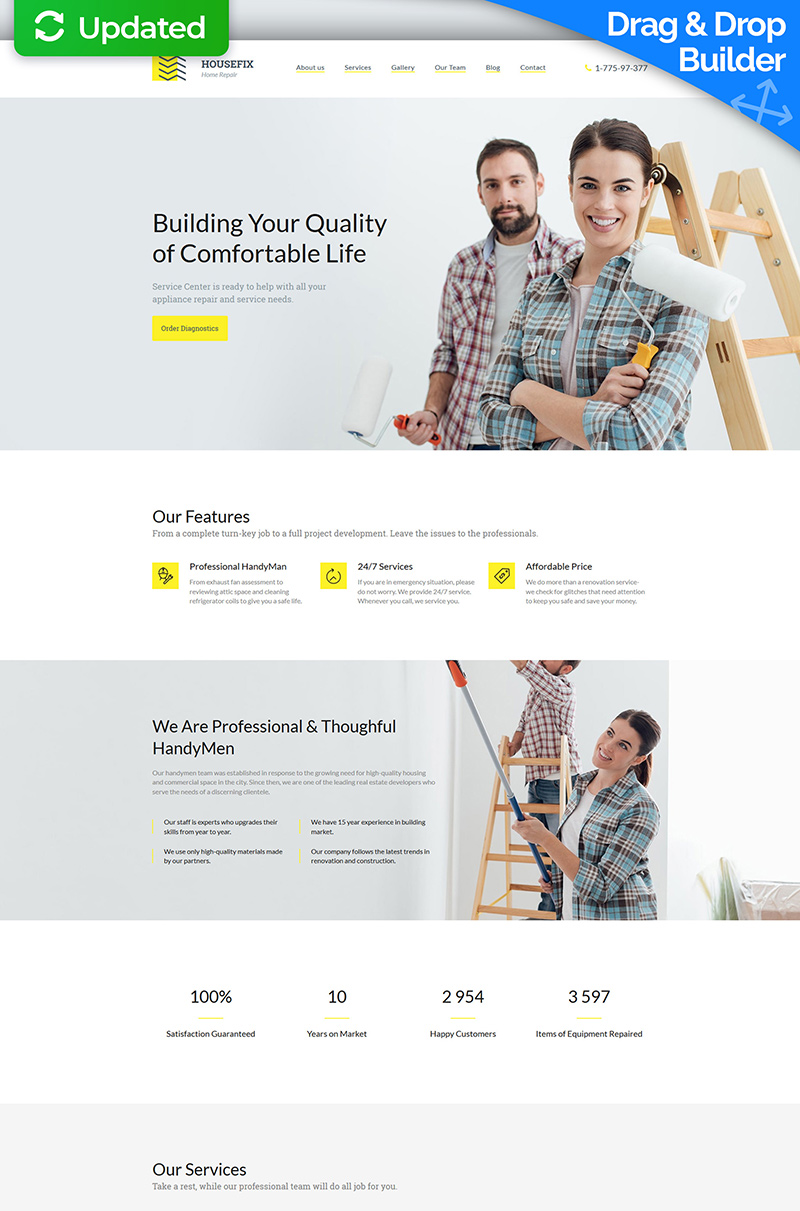 Housefix - Home Repairs Premium Moto CMS 3 Template