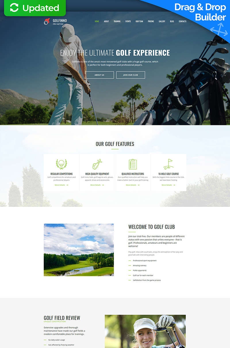 Golfinno - Golf Club Moto CMS 3 Template