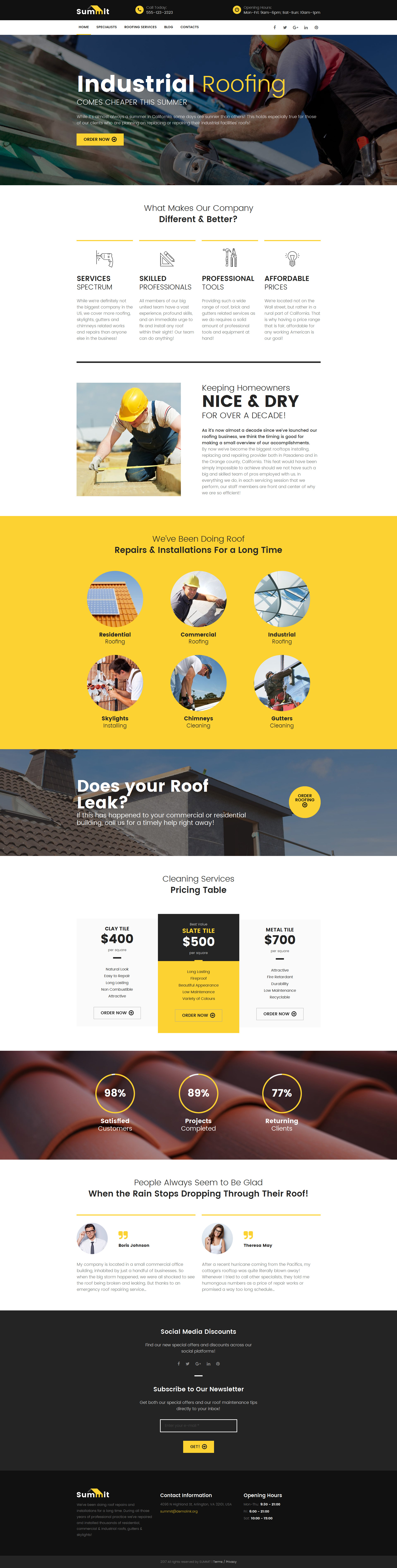 Roofing Company Moto CMS 3 Template