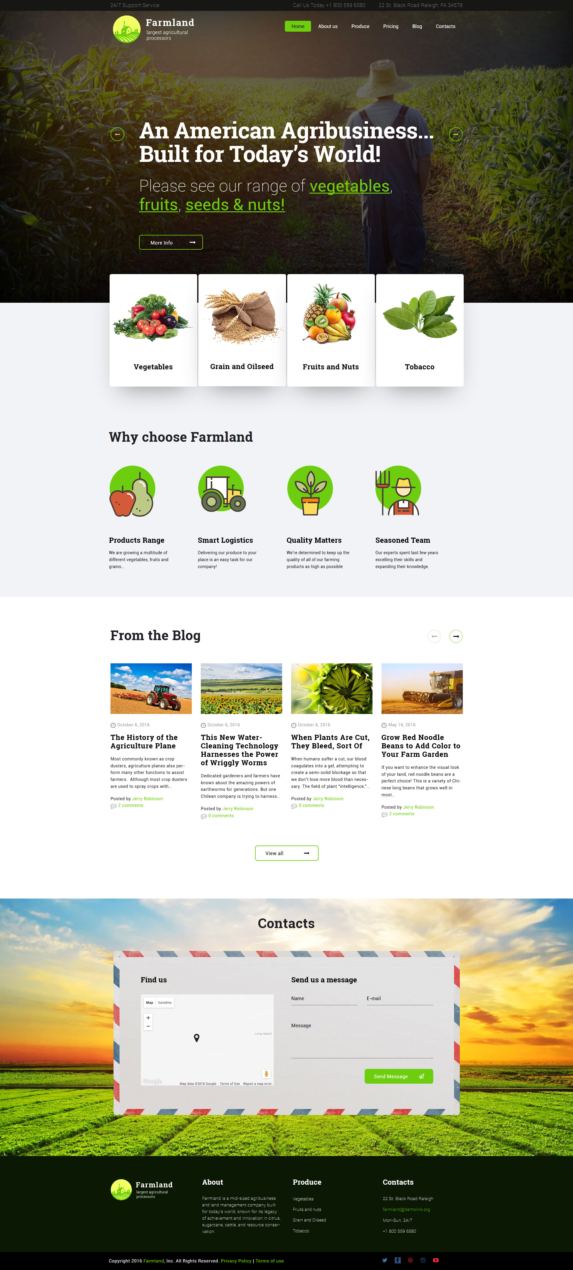 Farmland - Agriculture & Farming WordPress Theme