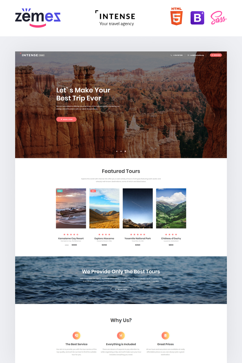 Intense Travel Agency Landing Page Template
