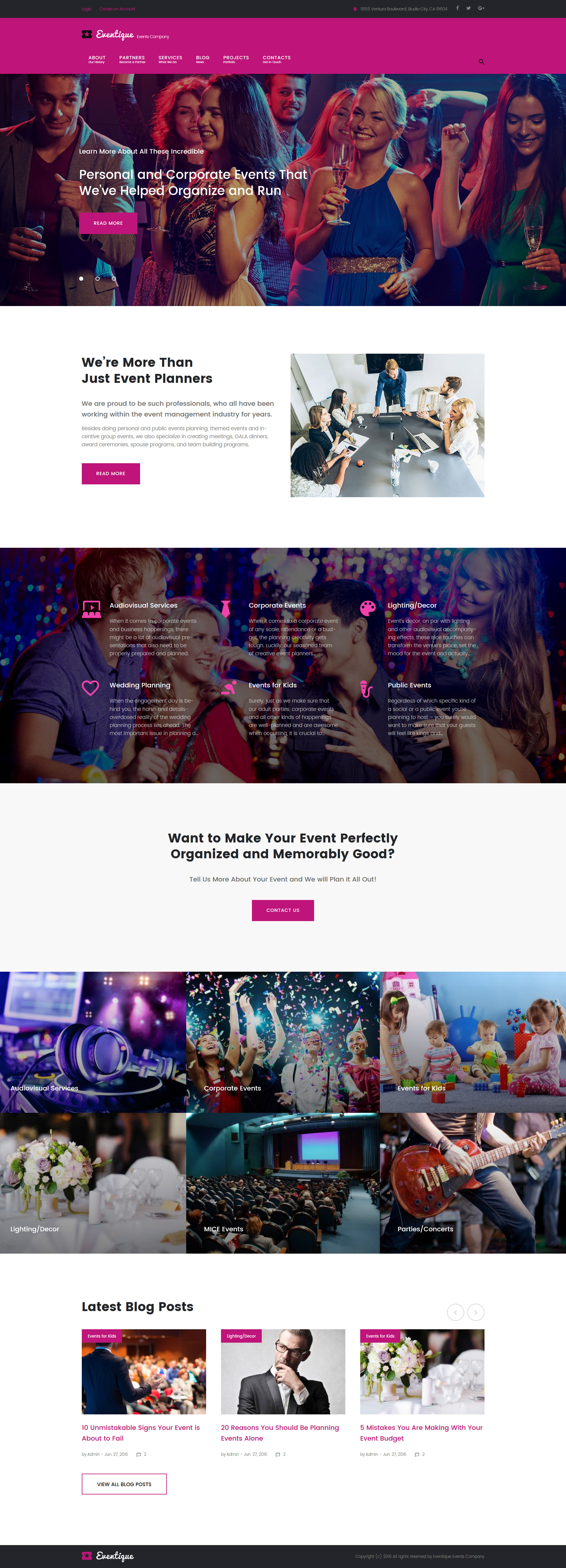 Eventique - events company WordPress Theme