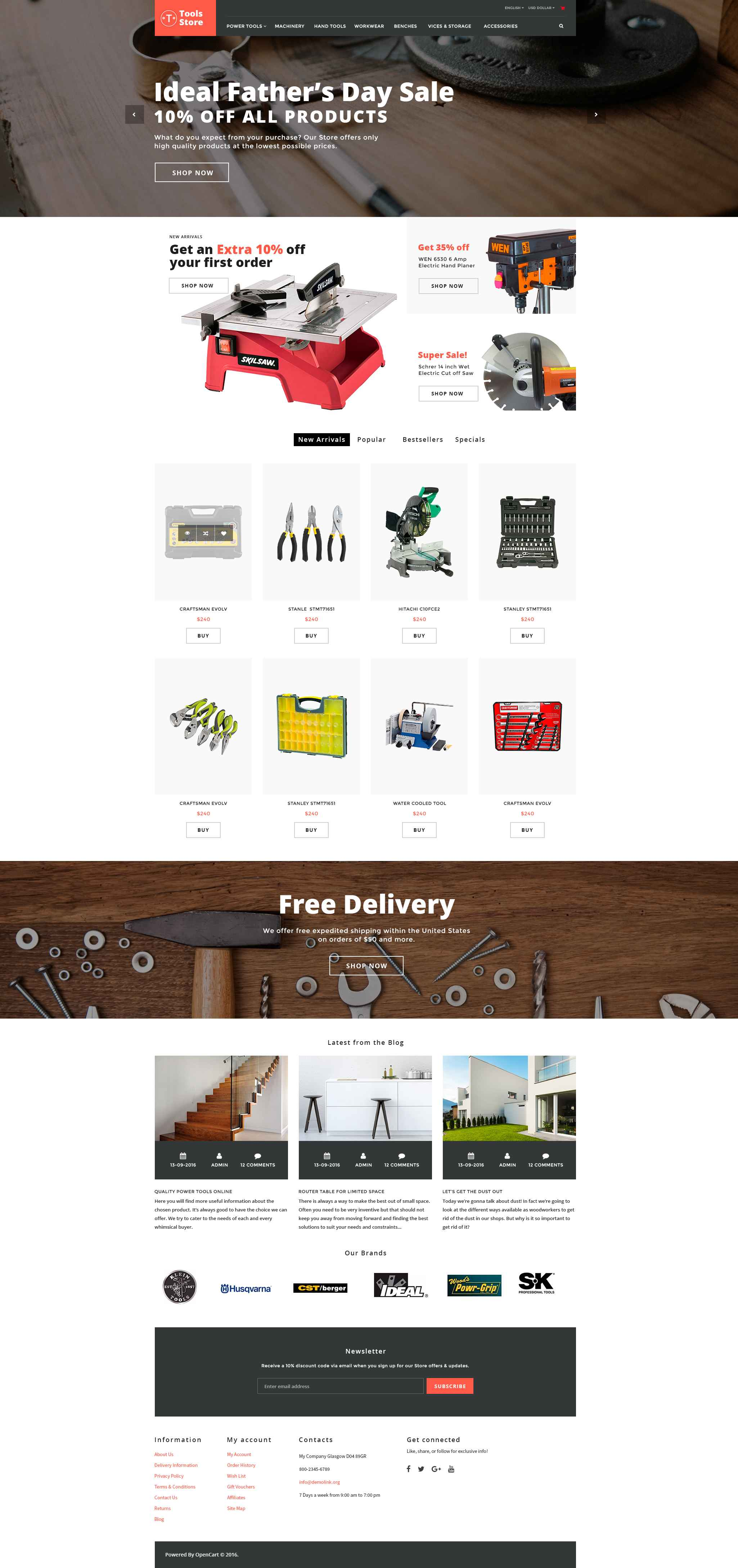 Tools Store - Building Tools & Handyman Supplies OpenCart Template