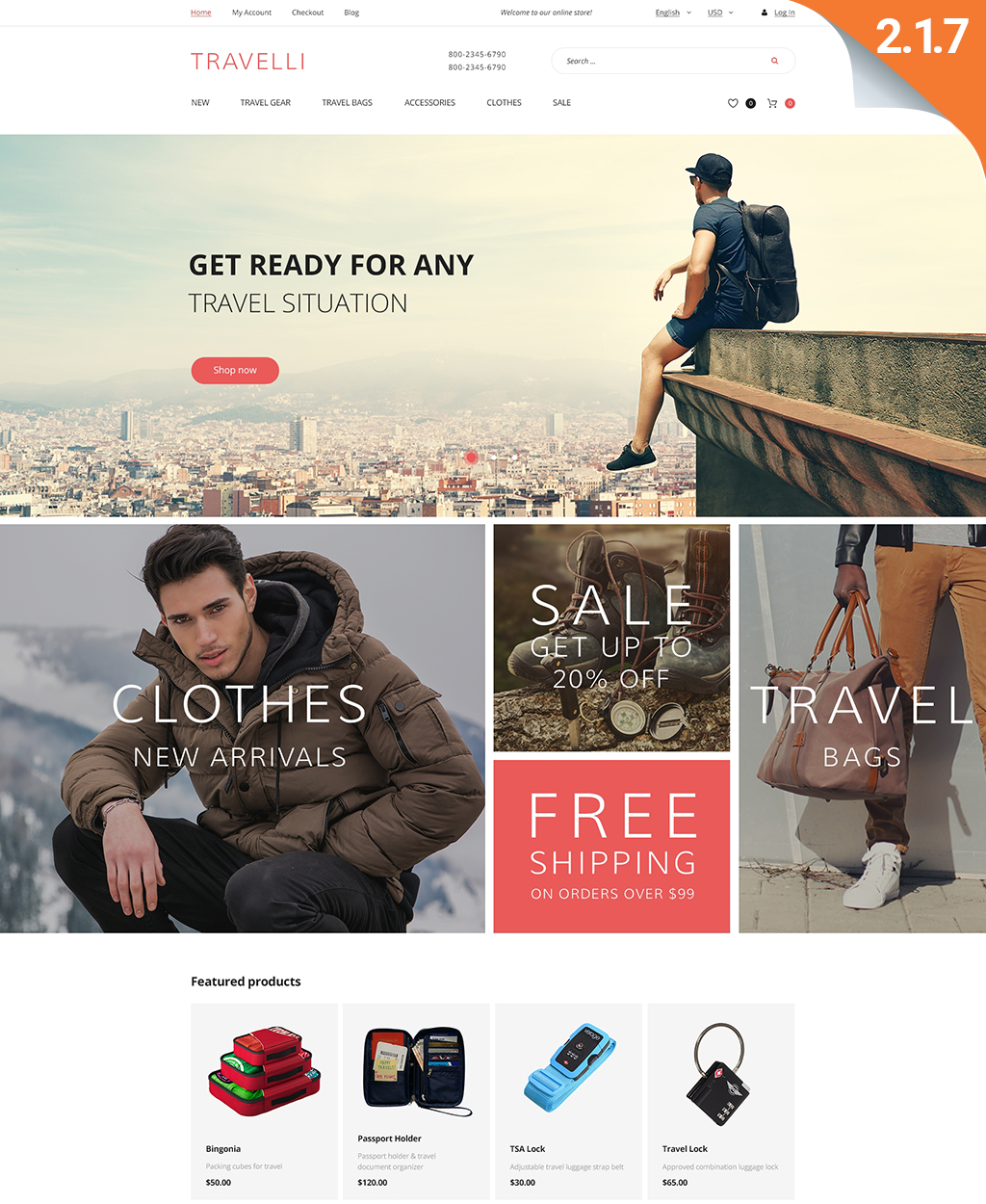 Travelli - Travel Equipment & Tourist Gear Magento Theme