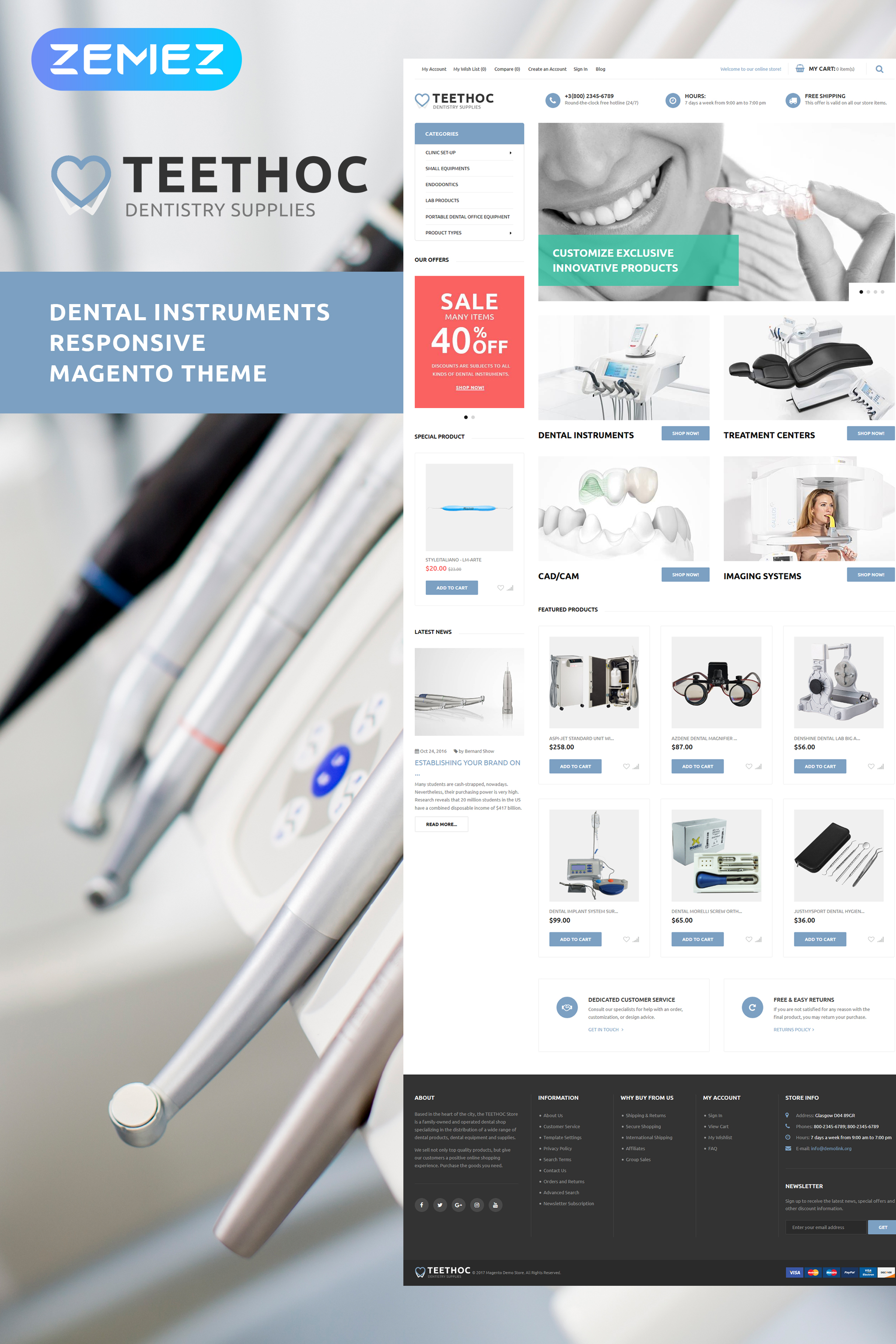 Teethoc - Dental Instruments Magento Theme