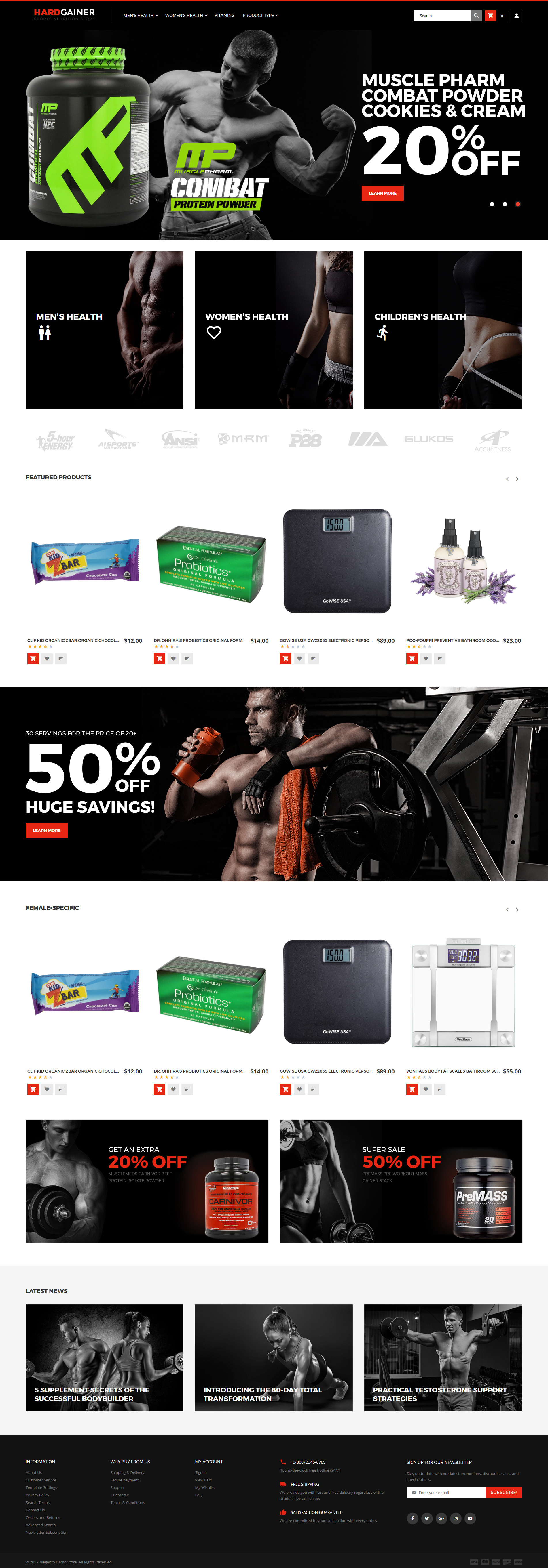 Hard Gainer - Sports Nutrition Store Responsive Magento Theme