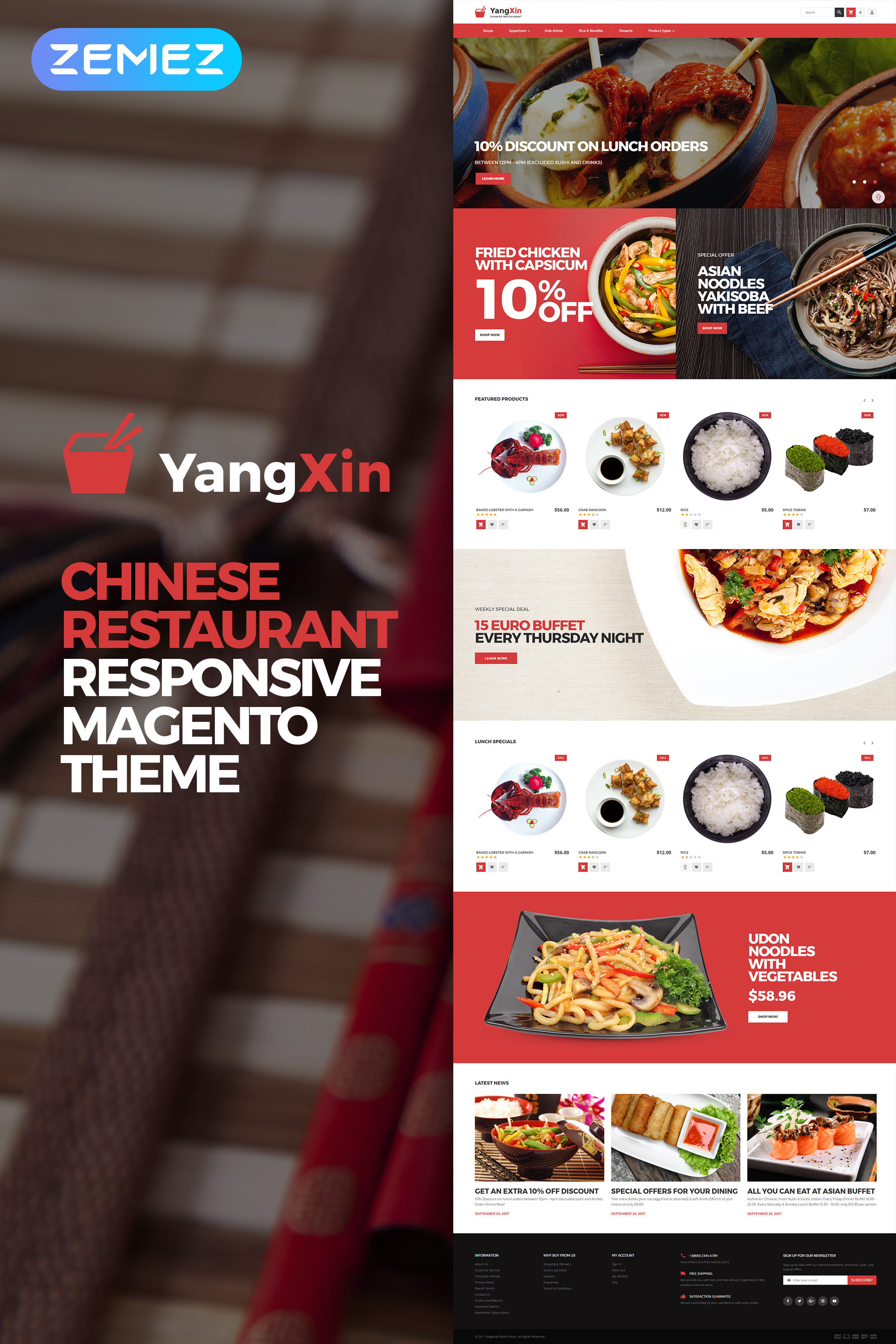 Template 62289 Yangxin Chinese Restaurant Magento Theme Website Brobst Systems