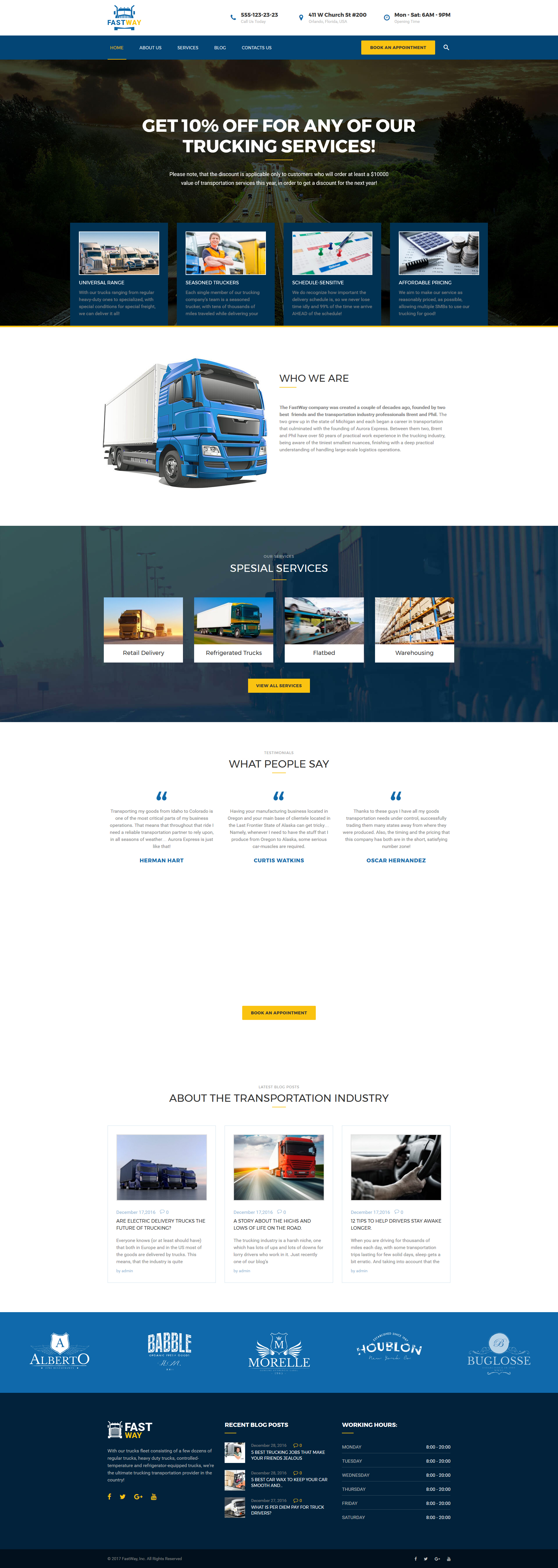 FastWay - Transportation Company Responsive WordPress Theme