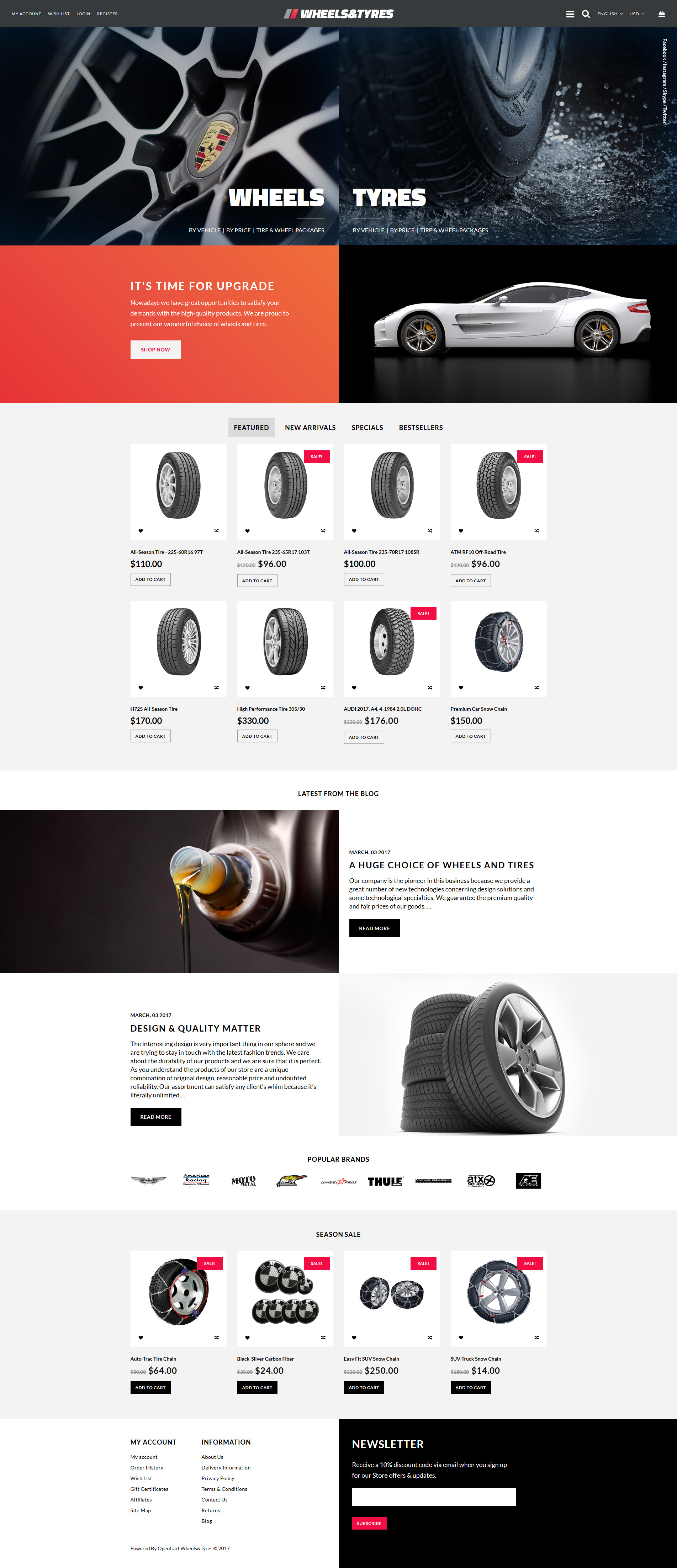 Wheels & Tyres OpenCart Template