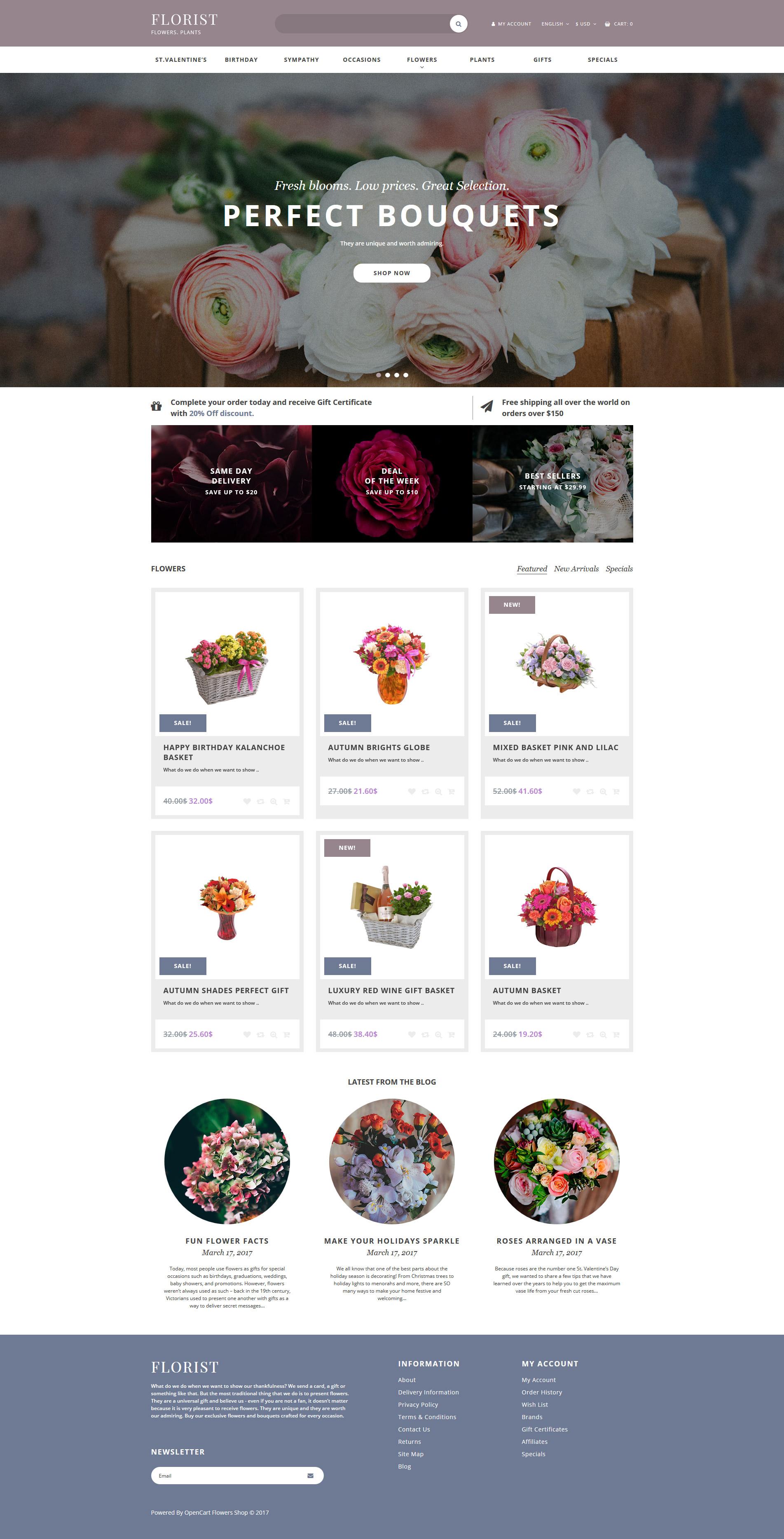 Flower Shop Responsive OpenCart Template