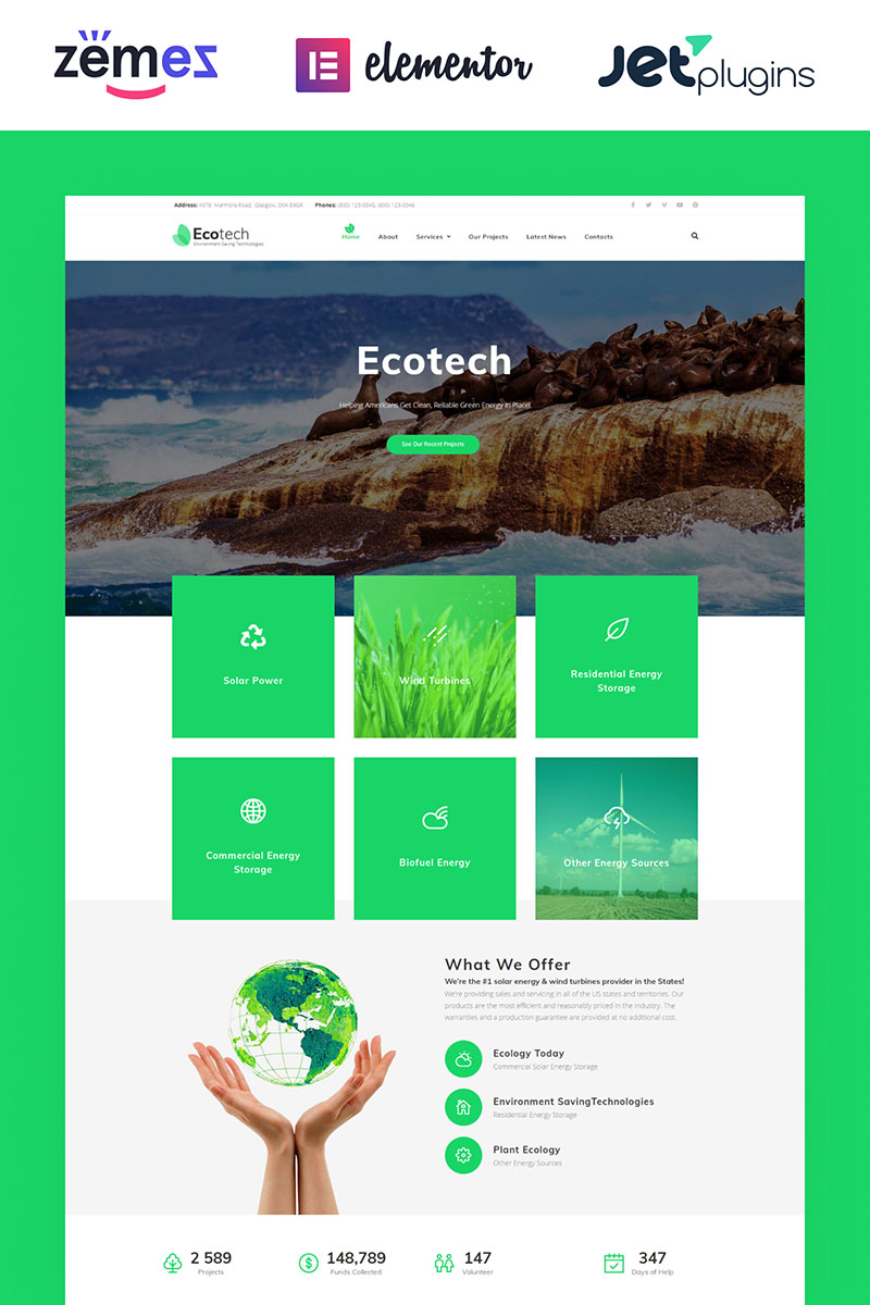 EcoTech - Environment Saving Technologies WordPress Elementor Theme