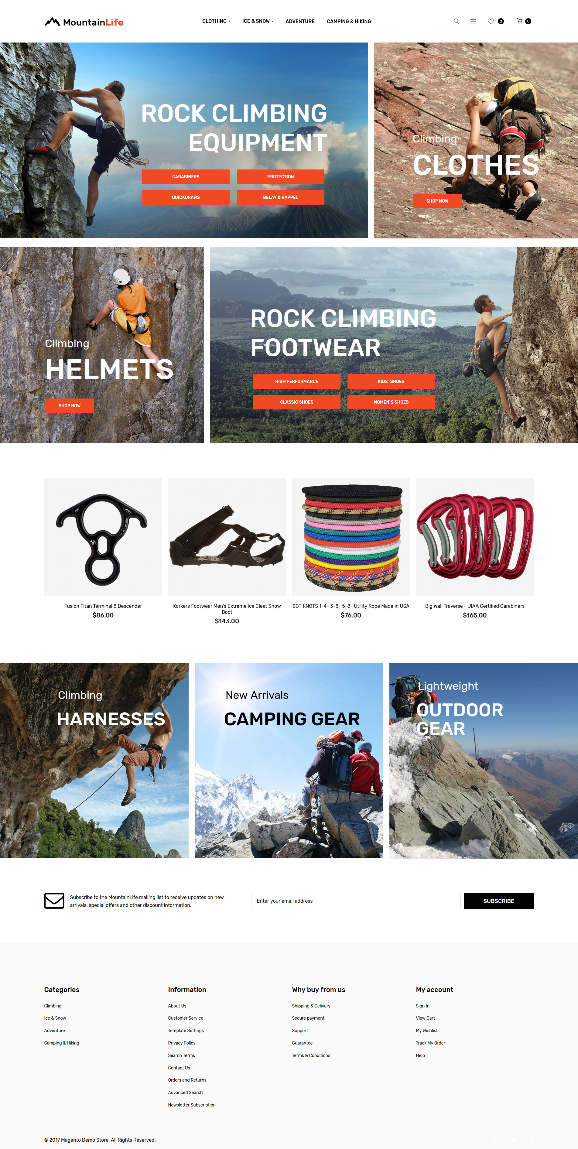 MountainLife - Climber's Gear Magento Theme