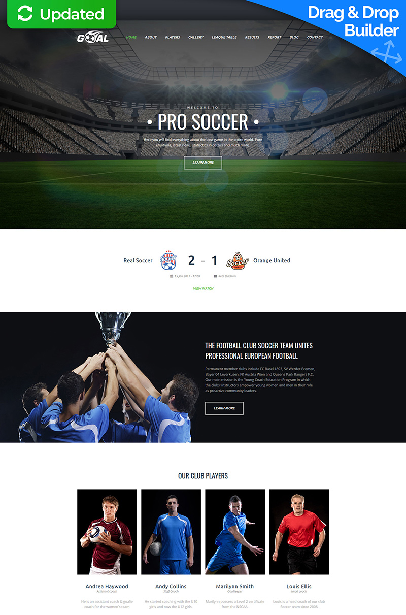 Soccer Club Premium Moto CMS 3 Template