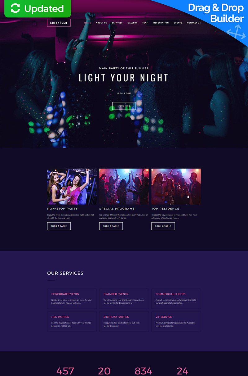 Grinnesso - Night Club Premium Moto CMS 3 Template