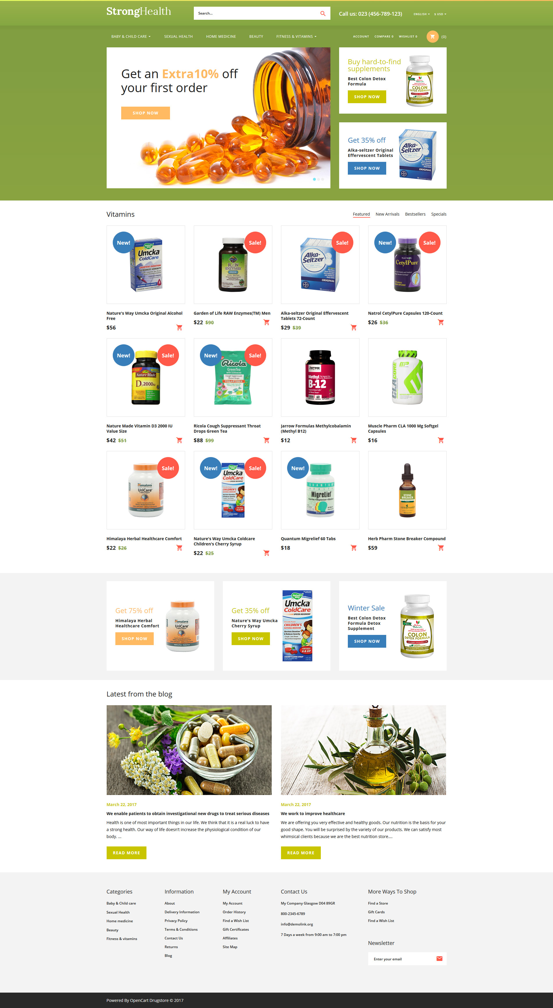 StrongHealth - Drugstore OpenCart Template