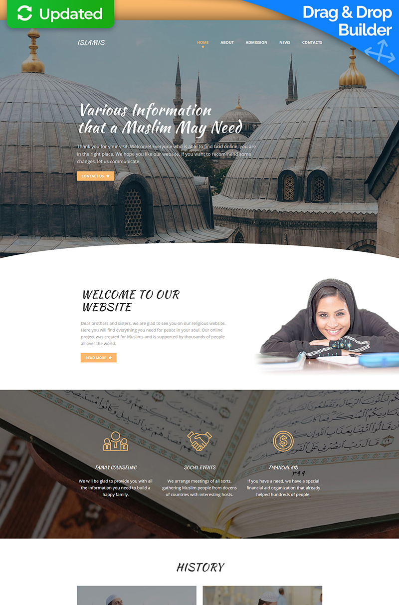 Islamic Social Center Responsive Moto CMS 3 Template